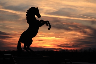 Mountie Statue at Sunset